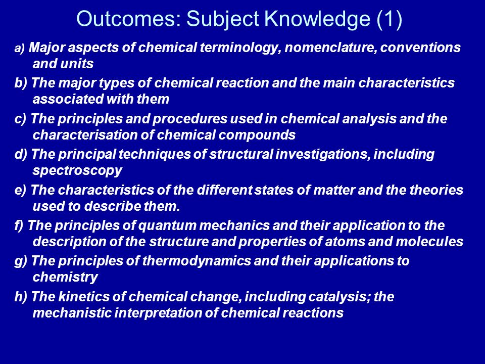 Outcomes: Subject Knowledge (1)
