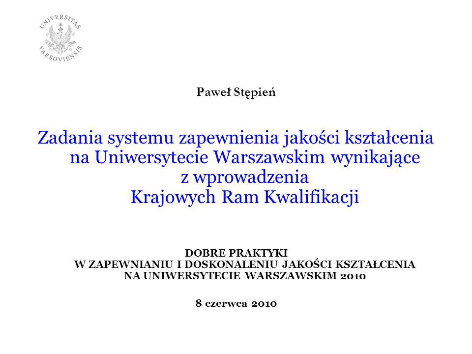 Paweł Stępień Zadania systemu zapewnienia jakości kształcenia na Uniwersytecie Warszawskim wynikające z wprowadzenia Krajowych Ram Kwalifikacji.