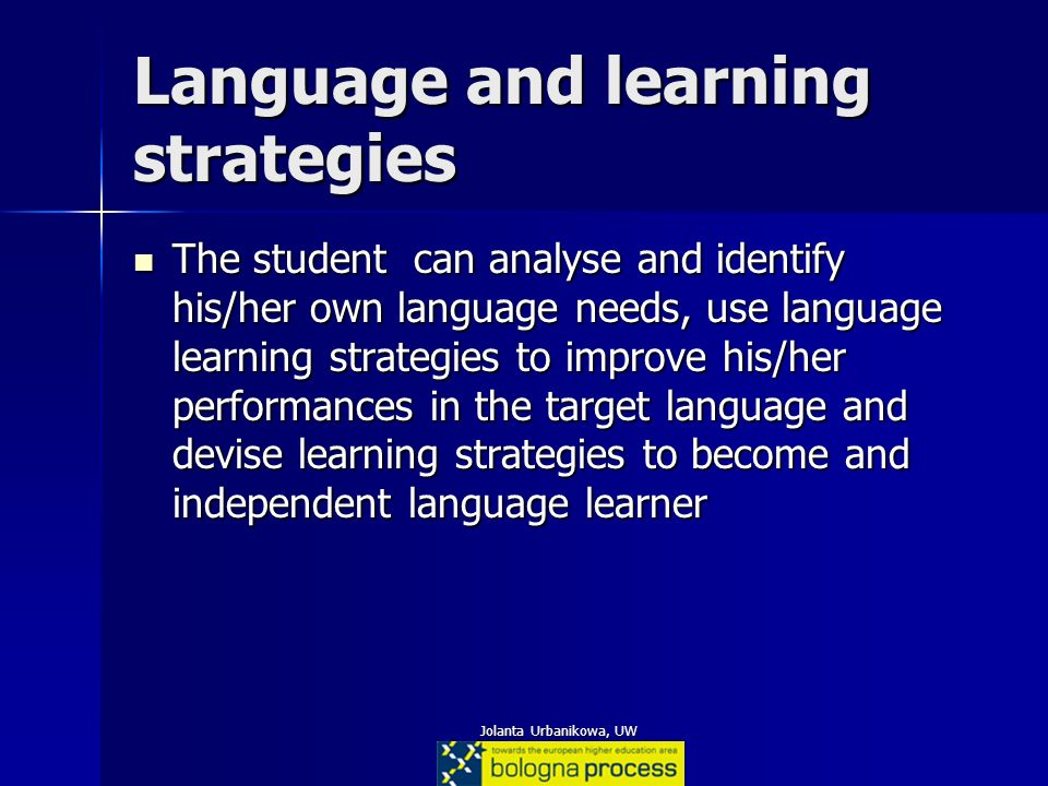 Language and learning strategies