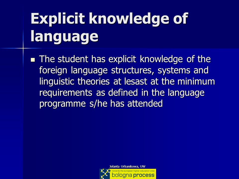 Explicit knowledge of language