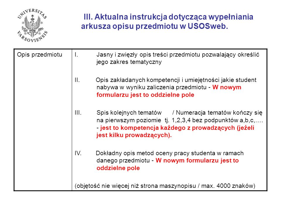III. Aktualna instrukcja dotycząca wypełniania
