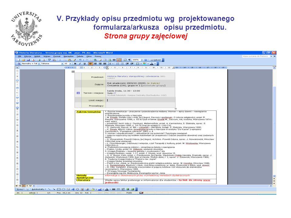 V. Przykłady opisu przedmiotu wg projektowanego