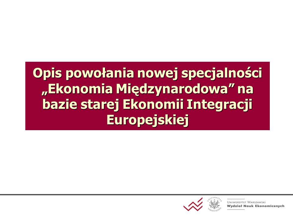 """Opis powołania nowej specjalności """"Ekonomia Międzynarodowa na bazie starej Ekonomii Integracji Europejskiej"""