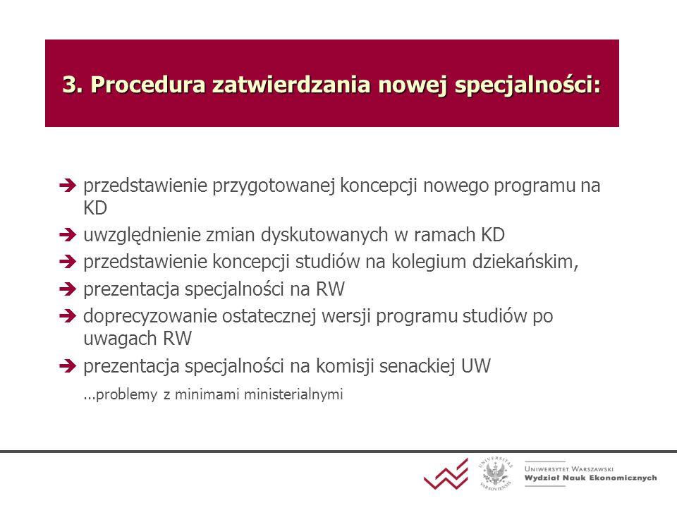 3. Procedura zatwierdzania nowej specjalności: