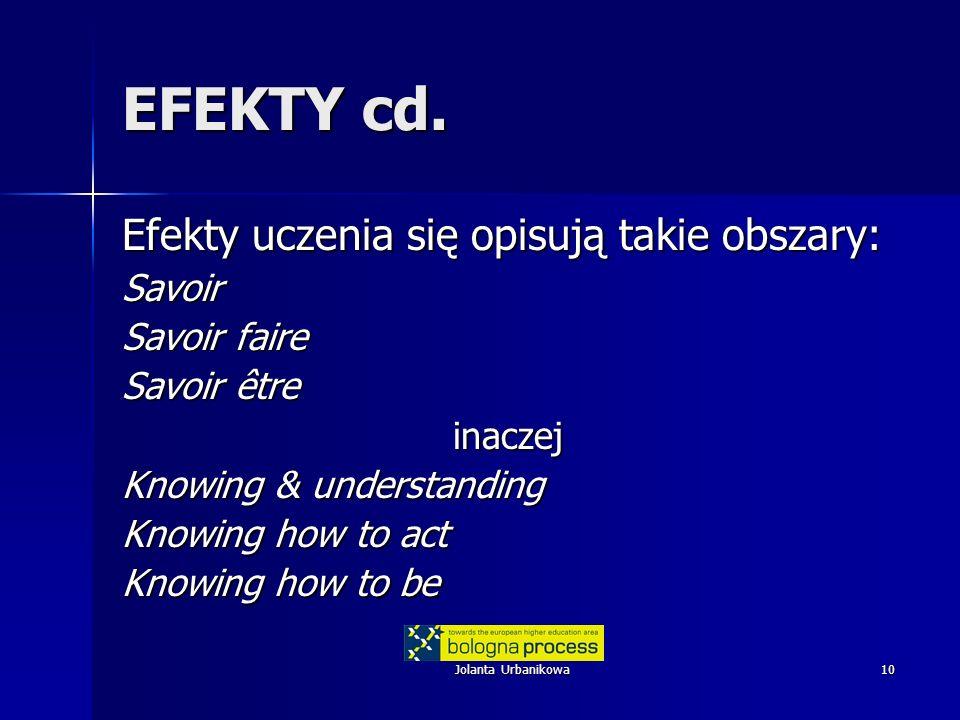 EFEKTY cd. Efekty uczenia się opisują takie obszary: Savoir