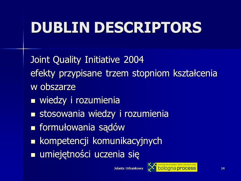 DUBLIN DESCRIPTORS Joint Quality Initiative 2004