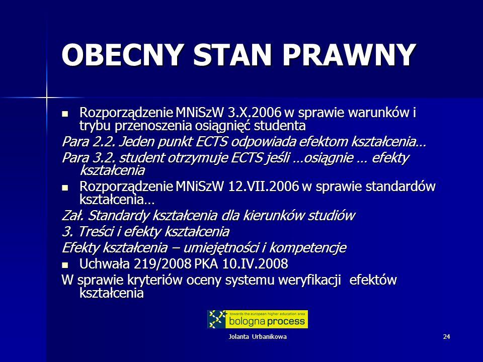 OBECNY STAN PRAWNYRozporządzenie MNiSzW 3.X.2006 w sprawie warunków i trybu przenoszenia osiągnięć studenta.