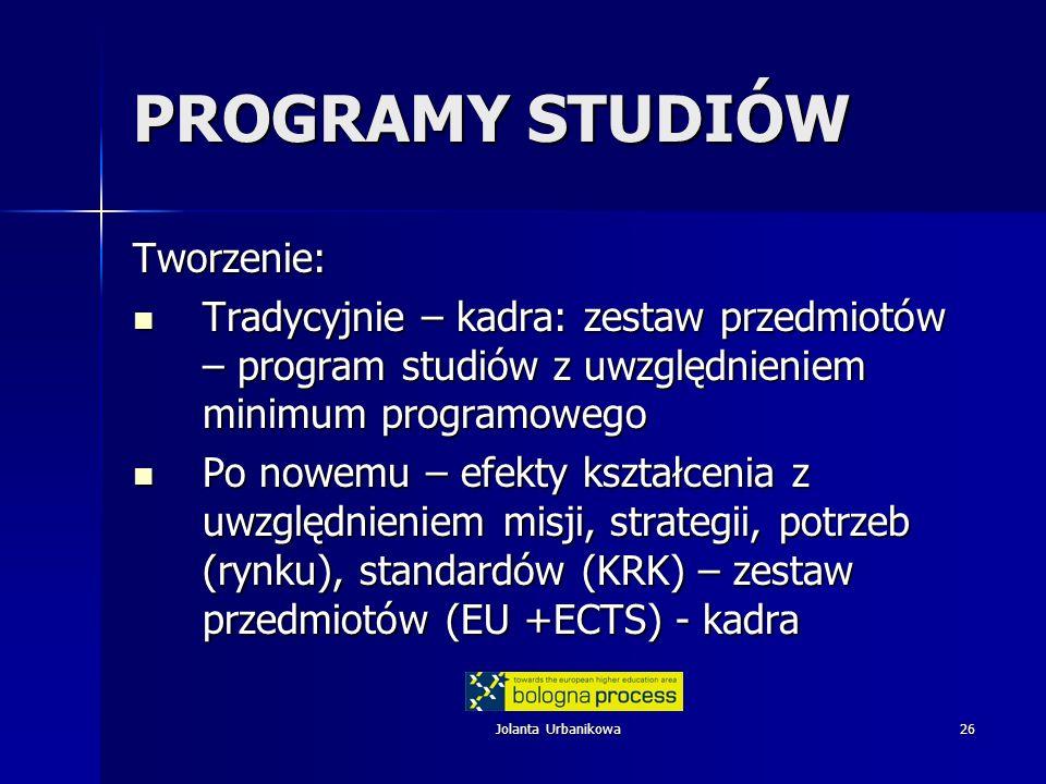 PROGRAMY STUDIÓW Tworzenie: