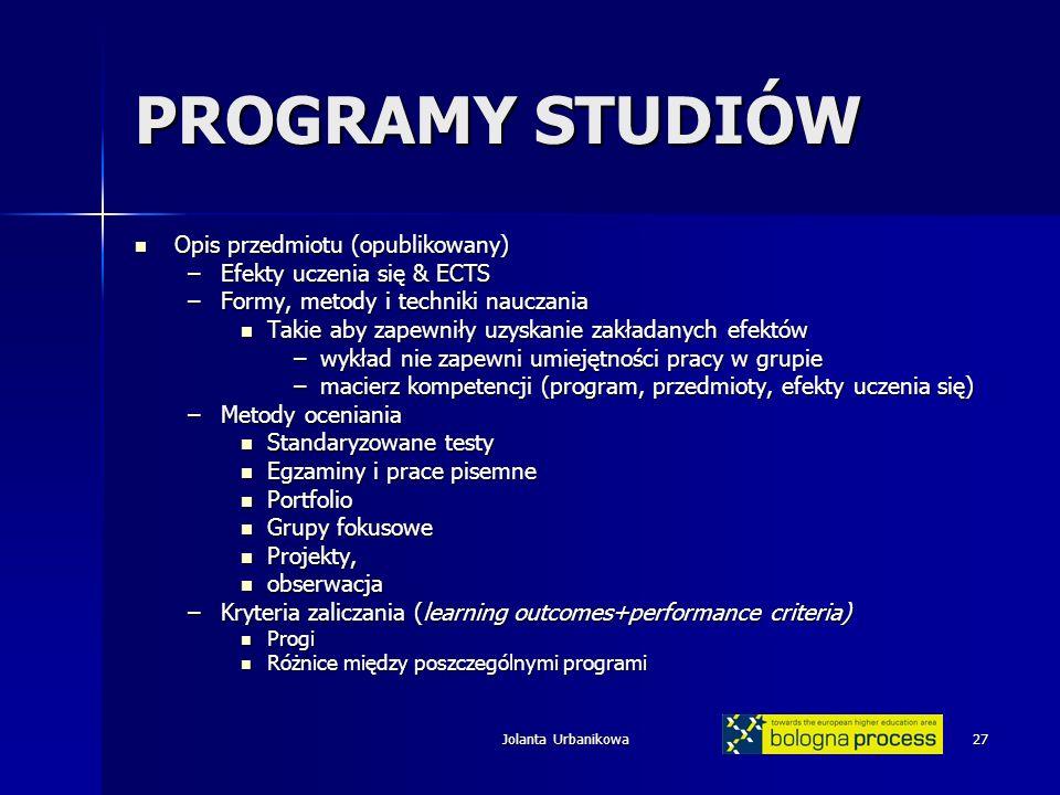 PROGRAMY STUDIÓW Opis przedmiotu (opublikowany)