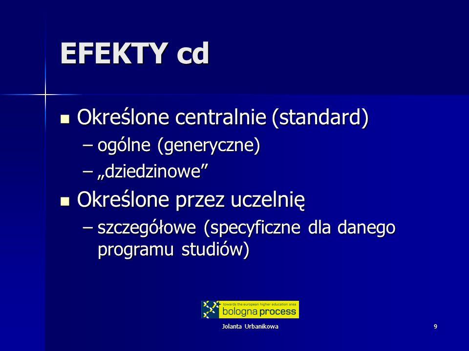 EFEKTY cd Określone centralnie (standard) Określone przez uczelnię