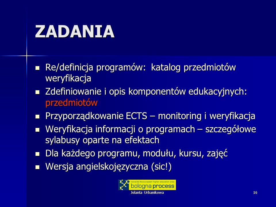 ZADANIA Re/definicja programów: katalog przedmiotów weryfikacja