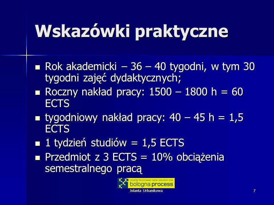Wskazówki praktyczne Rok akademicki – 36 – 40 tygodni, w tym 30 tygodni zajęć dydaktycznych; Roczny nakład pracy: 1500 – 1800 h = 60 ECTS.