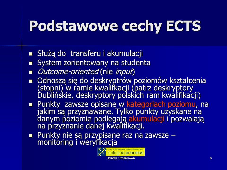 Podstawowe cechy ECTS Służą do transferu i akumulacji