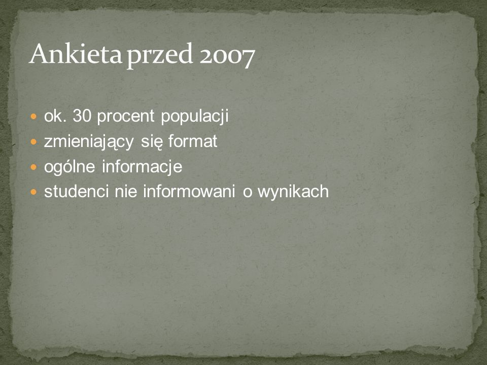 Ankieta przed 2007 ok. 30 procent populacji zmieniający się format