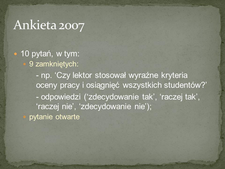 Ankieta 2007 10 pytań, w tym: 9 zamkniętych: - np. 'Czy lektor stosował wyraźne kryteria oceny pracy i osiągnięć wszystkich studentów '
