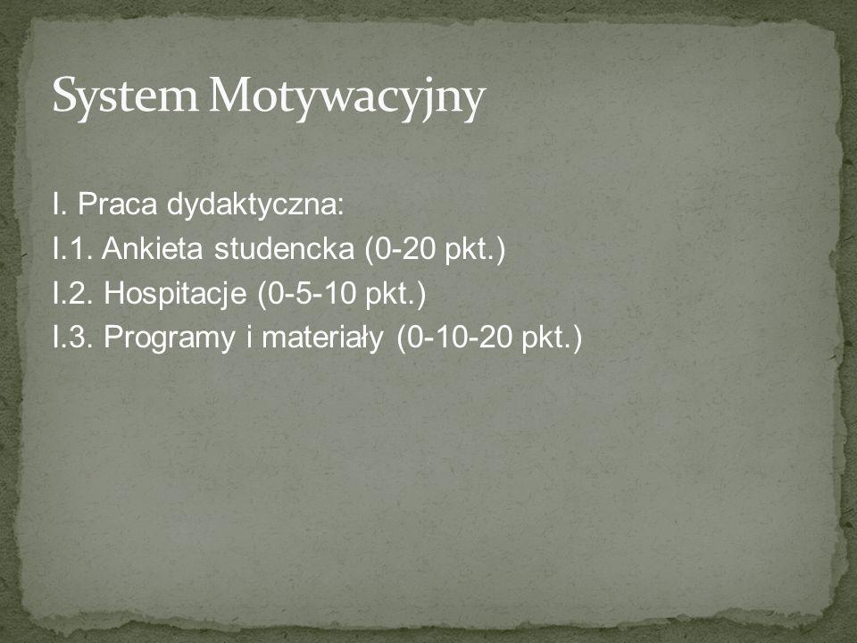 System Motywacyjny I. Praca dydaktyczna:
