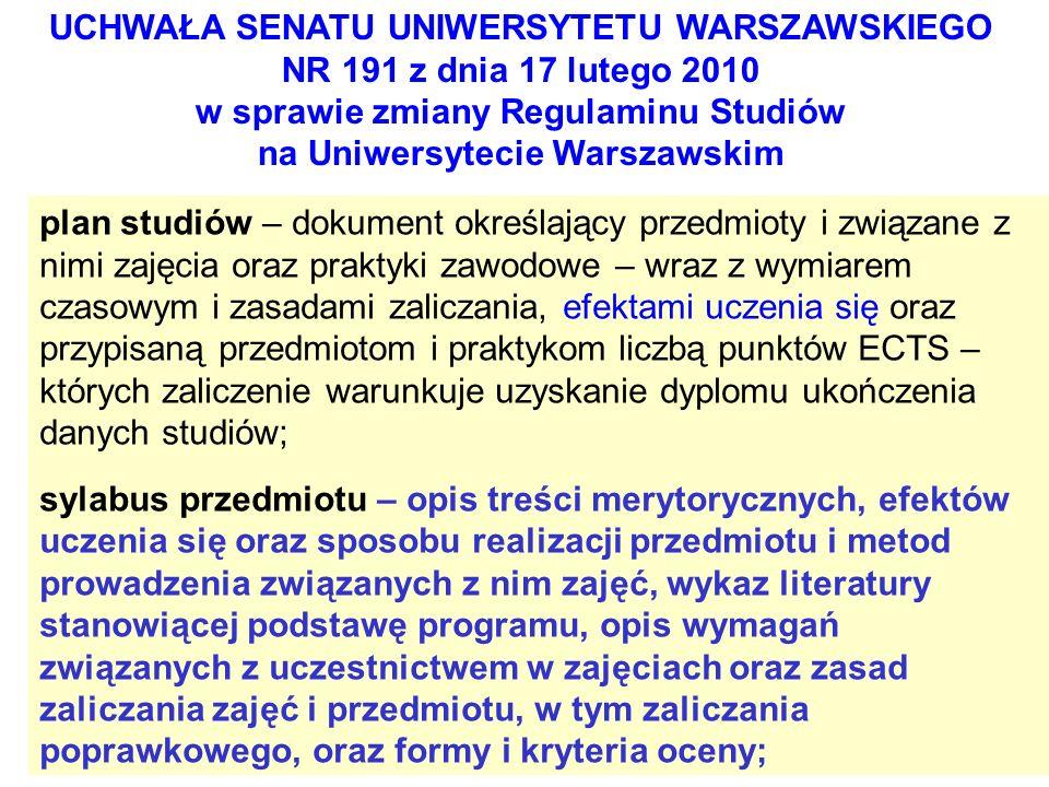 UCHWAŁA SENATU UNIWERSYTETU WARSZAWSKIEGO NR 191 z dnia 17 lutego 2010