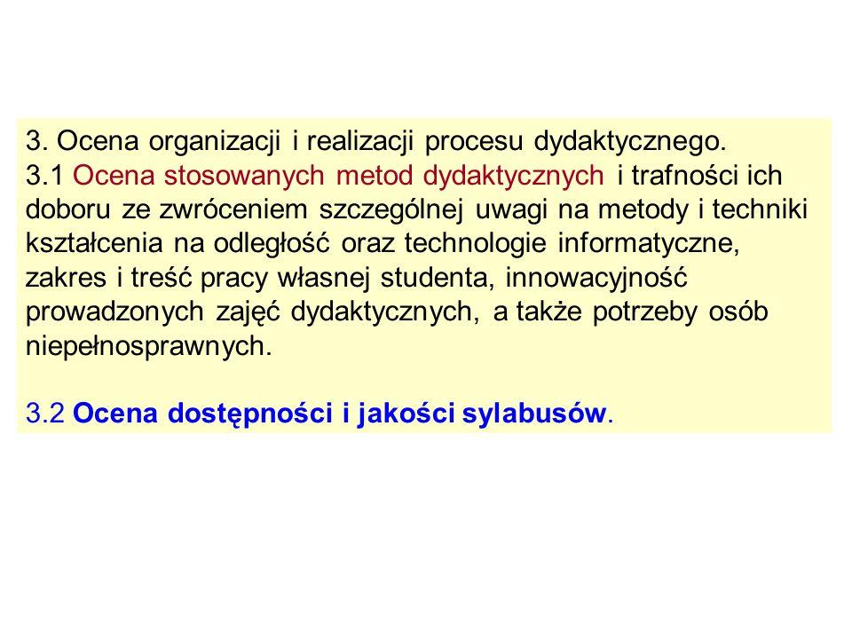 3. Ocena organizacji i realizacji procesu dydaktycznego.