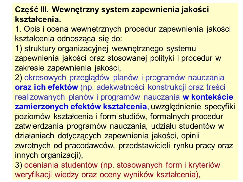 Część III. Wewnętrzny system zapewnienia jakości kształcenia.