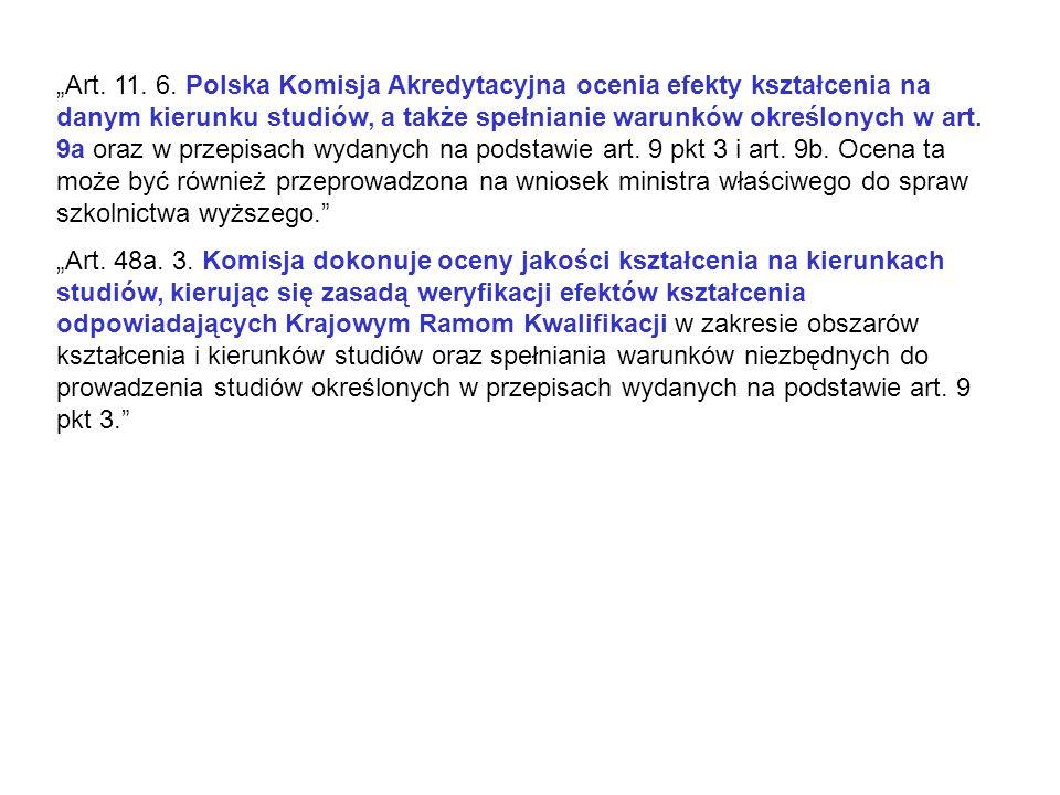 """""""Art. 11. 6. Polska Komisja Akredytacyjna ocenia efekty kształcenia na danym kierunku studiów, a także spełnianie warunków określonych w art. 9a oraz w przepisach wydanych na podstawie art. 9 pkt 3 i art. 9b. Ocena ta może być również przeprowadzona na wniosek ministra właściwego do spraw szkolnictwa wyższego."""