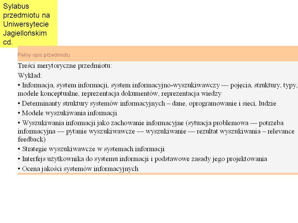 Sylabus przedmiotu na Uniwersytecie Jagiellońskim