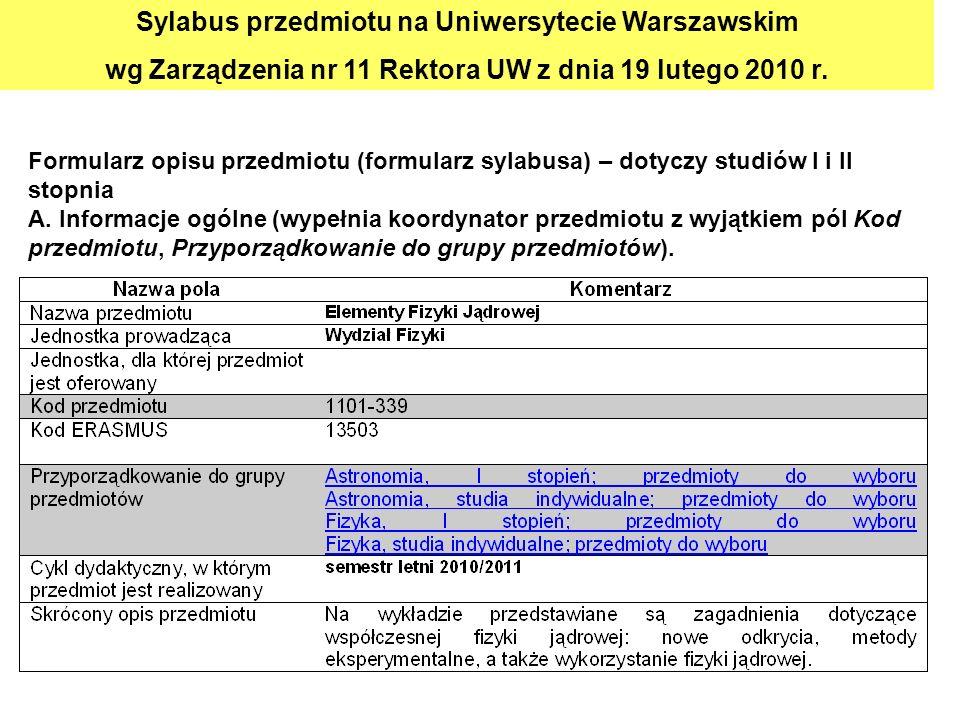 Sylabus przedmiotu na Uniwersytecie Warszawskim