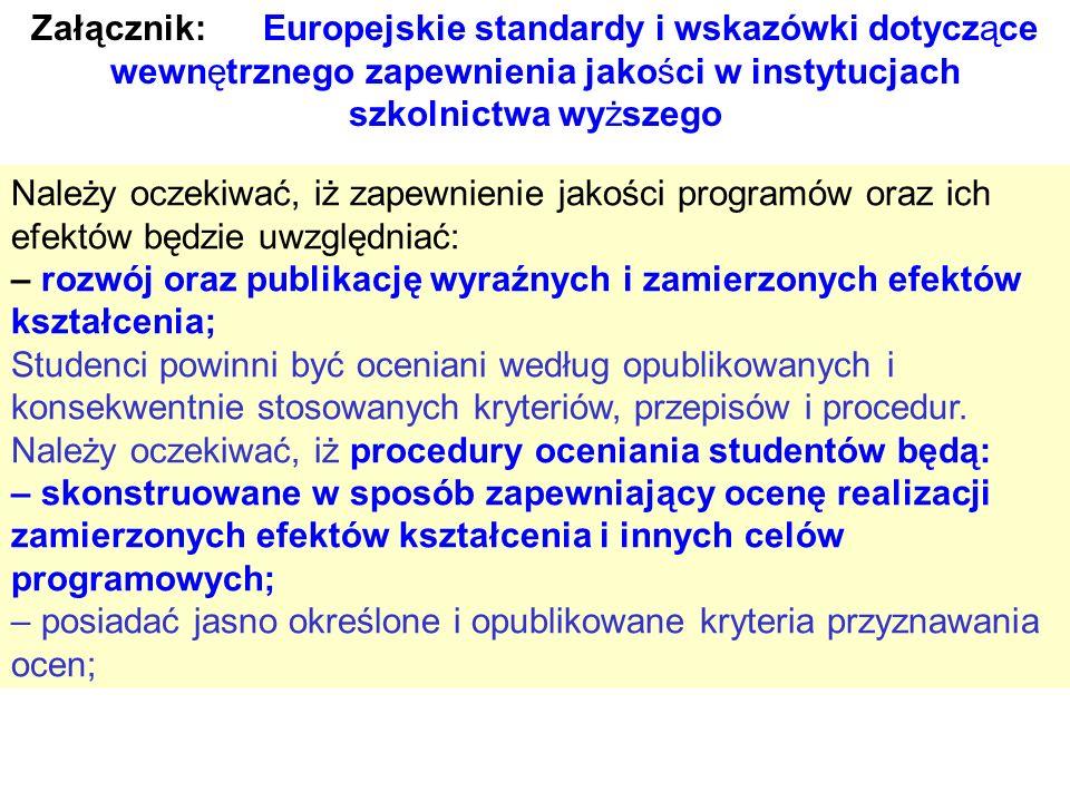 Załącznik: Europejskie standardy i wskazówki dotyczące wewnętrznego zapewnienia jakości w instytucjach szkolnictwa wyższego