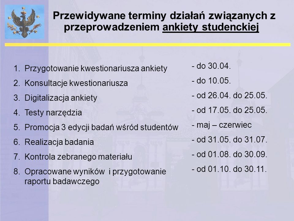 Przewidywane terminy działań związanych z przeprowadzeniem ankiety studenckiej