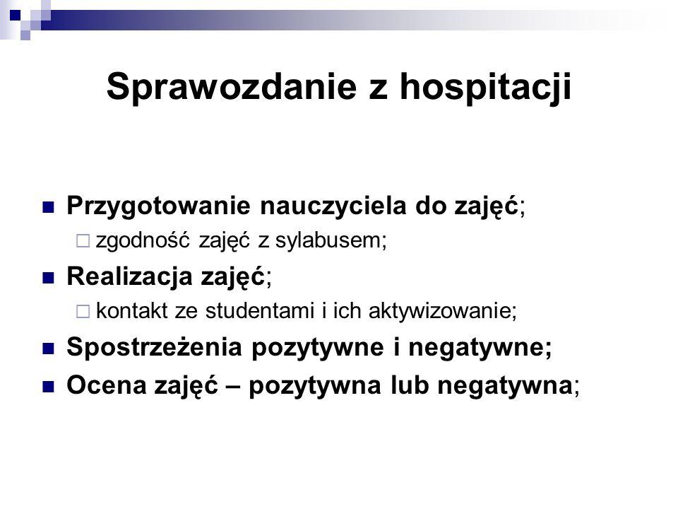 Sprawozdanie z hospitacji