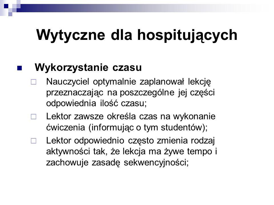 Wytyczne dla hospitujących