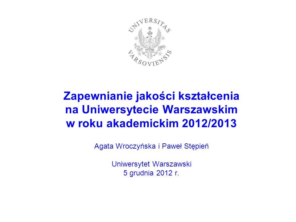 Zapewnianie jakości kształcenia na Uniwersytecie Warszawskim w roku akademickim 2012/2013 Agata Wroczyńska i Paweł Stępień Uniwersytet Warszawski 5 grudnia 2012 r.