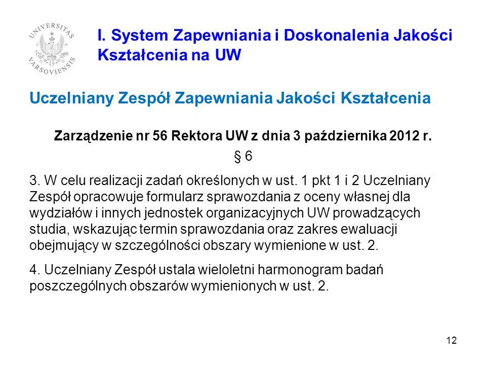 Zarządzenie nr 56 Rektora UW z dnia 3 października 2012 r.
