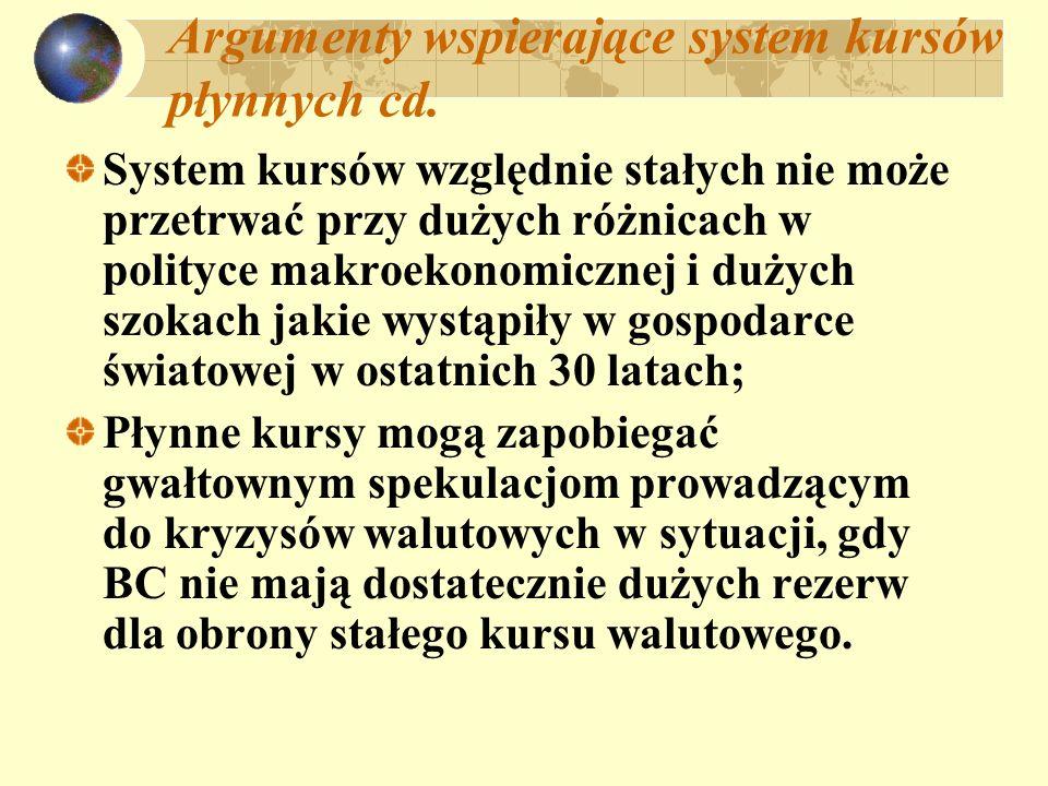 Argumenty wspierające system kursów płynnych cd.