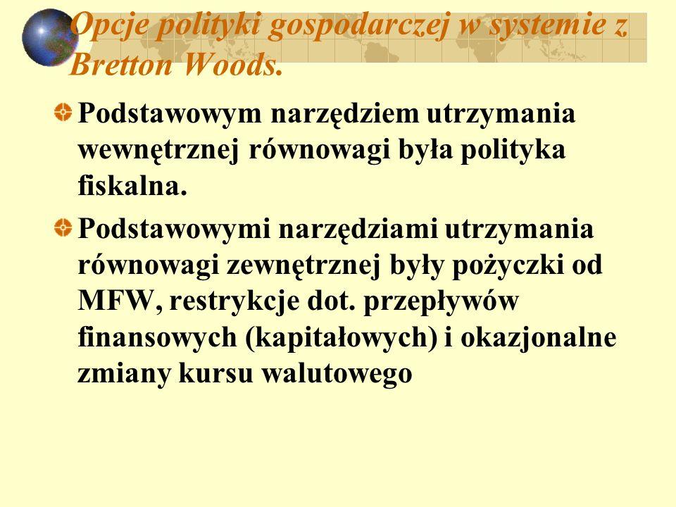 Opcje polityki gospodarczej w systemie z Bretton Woods.
