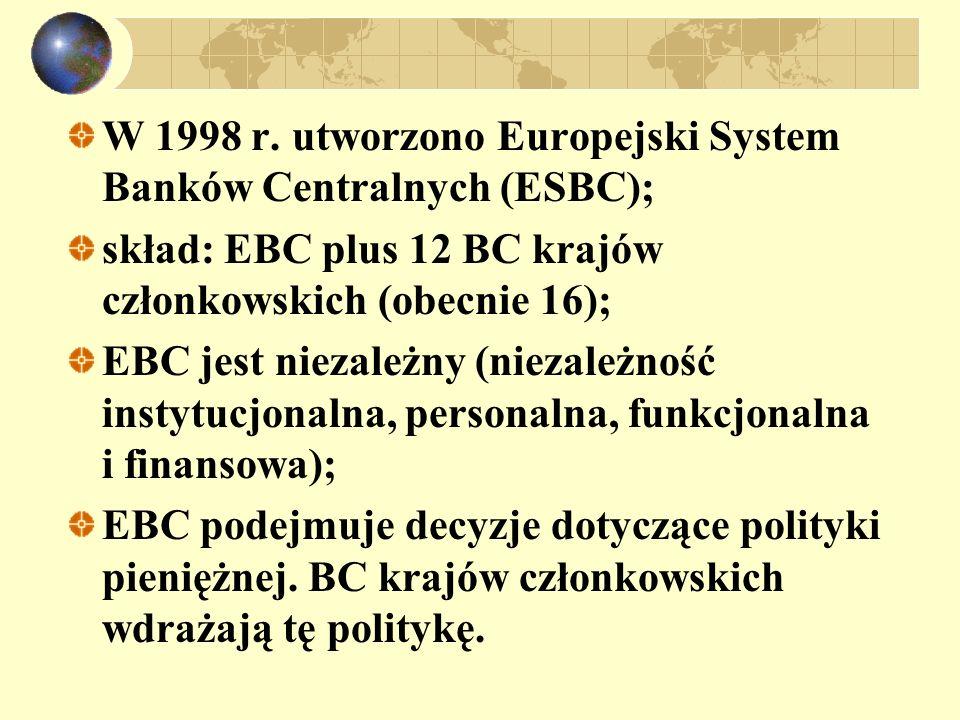 W 1998 r. utworzono Europejski System Banków Centralnych (ESBC);