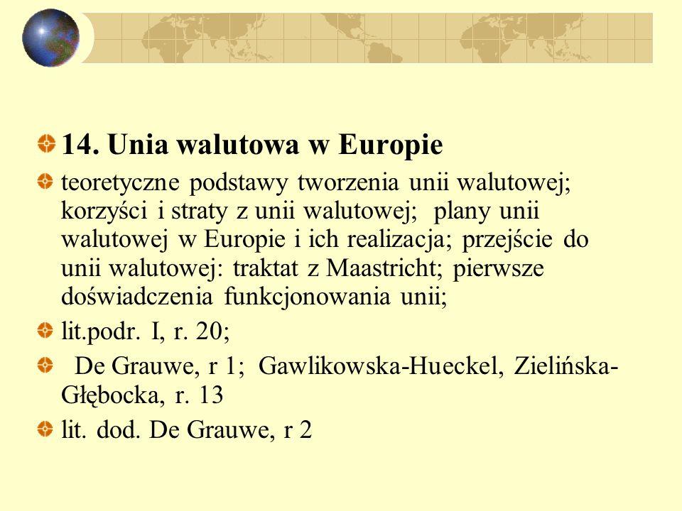 14. Unia walutowa w Europie