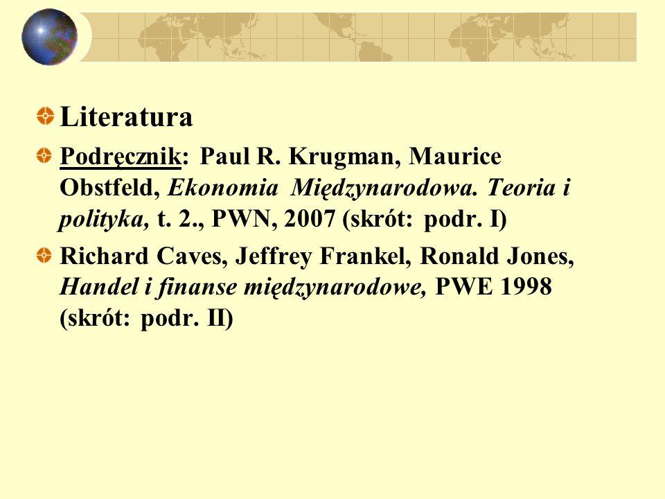 Literatura Podręcznik: Paul R. Krugman, Maurice Obstfeld, Ekonomia Międzynarodowa. Teoria i polityka, t. 2., PWN, 2007 (skrót: podr. I)