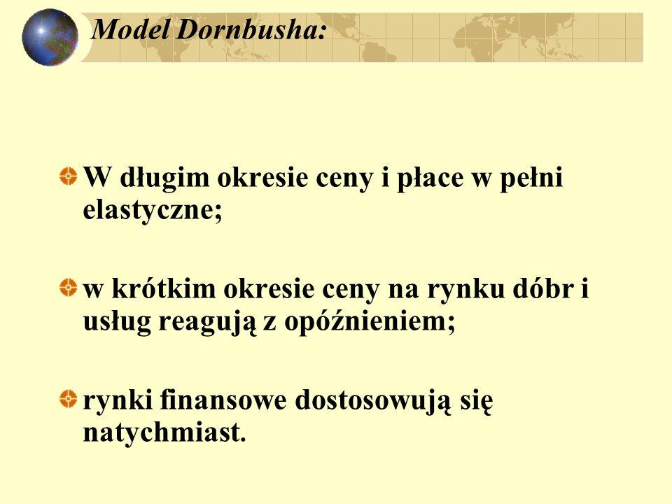 Model Dornbusha: W długim okresie ceny i płace w pełni elastyczne; w krótkim okresie ceny na rynku dóbr i usług reagują z opóźnieniem;