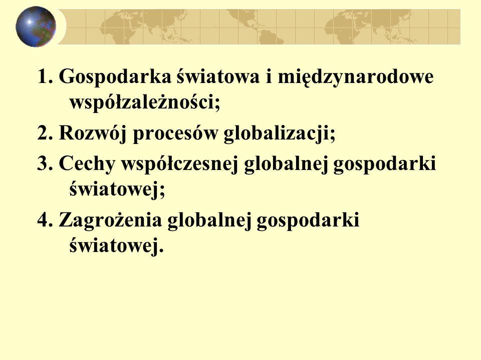 1. Gospodarka światowa i międzynarodowe współzależności;