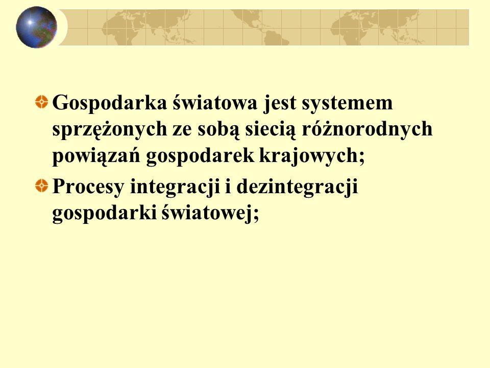 Gospodarka światowa jest systemem sprzężonych ze sobą siecią różnorodnych powiązań gospodarek krajowych;