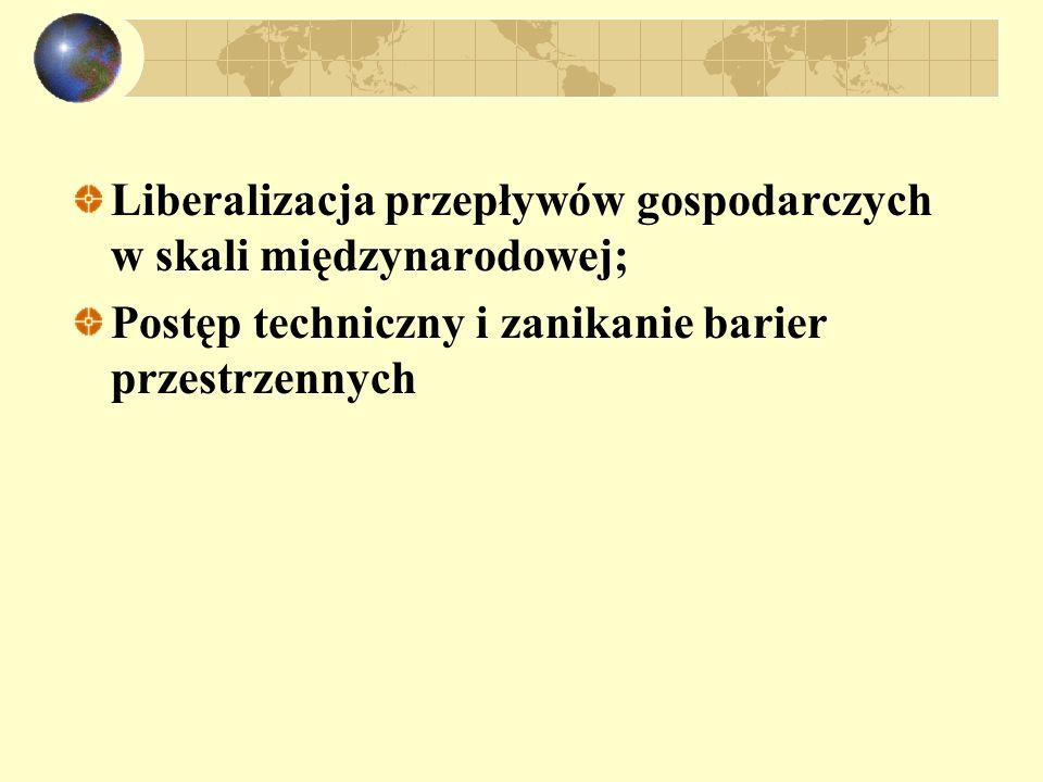 Liberalizacja przepływów gospodarczych w skali międzynarodowej;