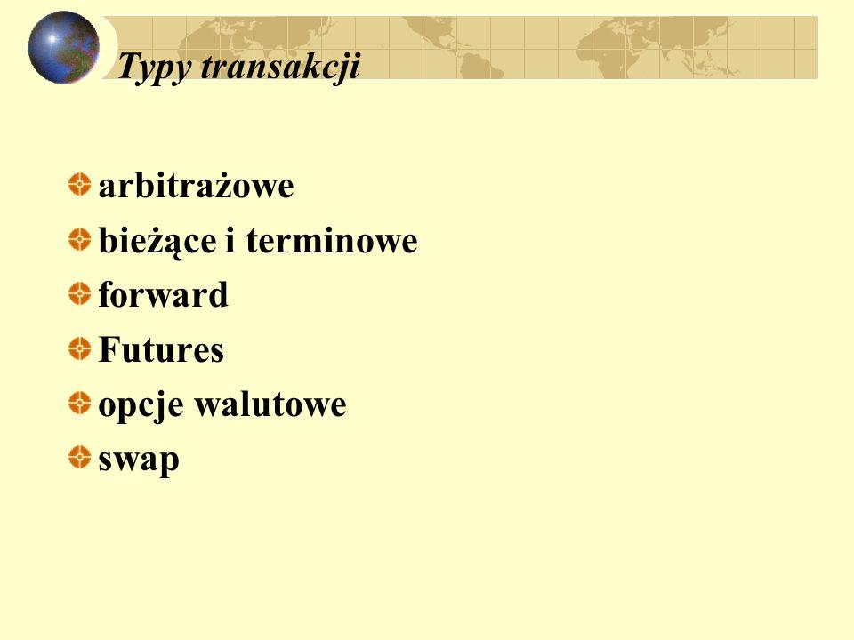 Typy transakcji arbitrażowe bieżące i terminowe forward Futures opcje walutowe swap