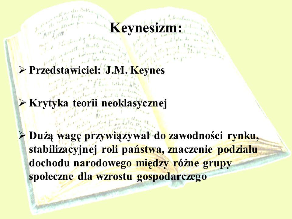 Keynesizm: Przedstawiciel: J.M. Keynes Krytyka teorii neoklasycznej