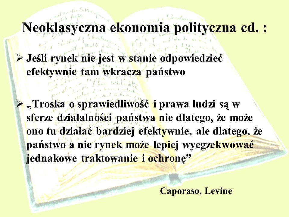Neoklasyczna ekonomia polityczna cd. :