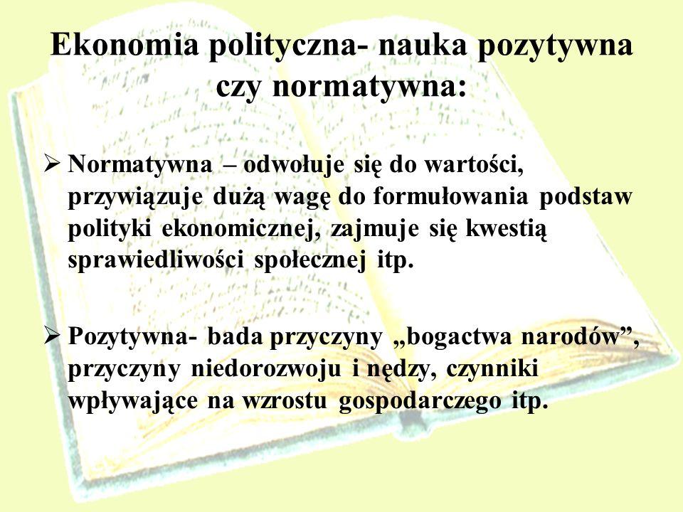 Ekonomia polityczna- nauka pozytywna czy normatywna: