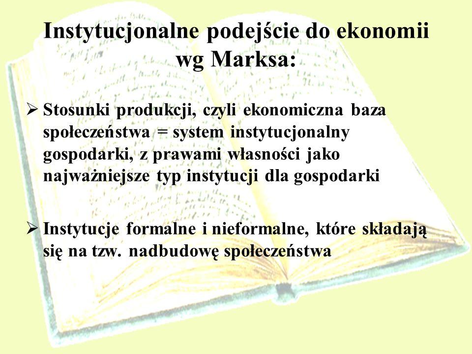 Instytucjonalne podejście do ekonomii wg Marksa: