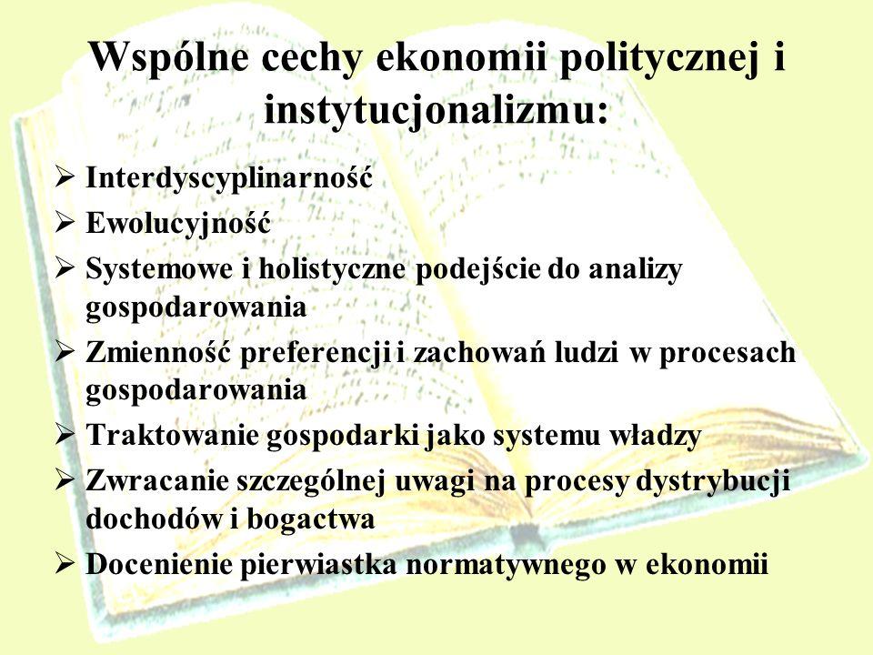 Wspólne cechy ekonomii politycznej i instytucjonalizmu: