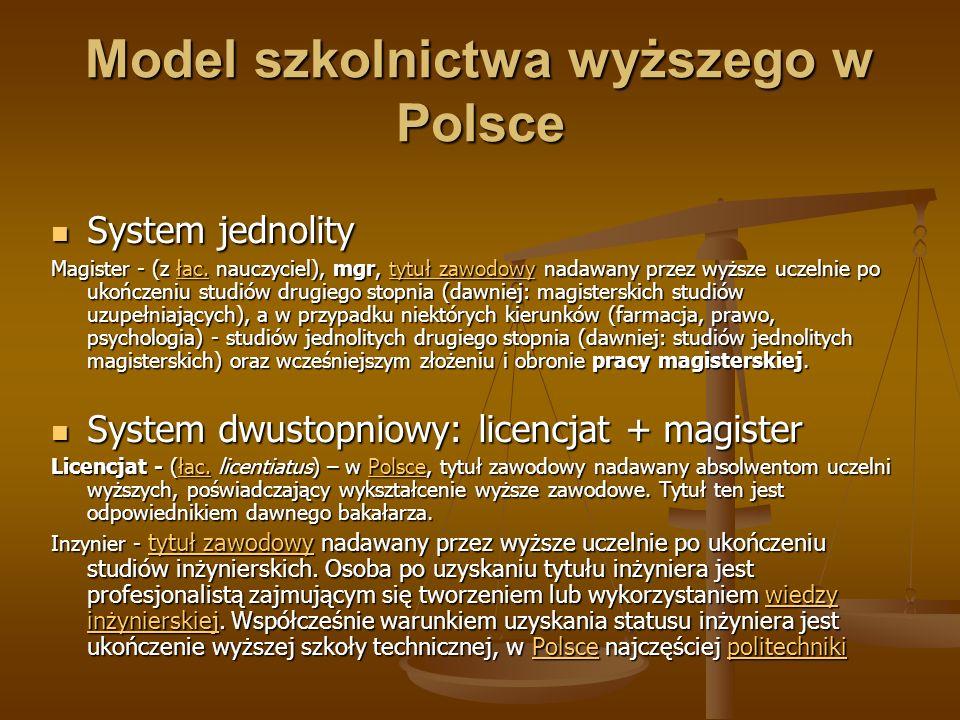 Model szkolnictwa wyższego w Polsce