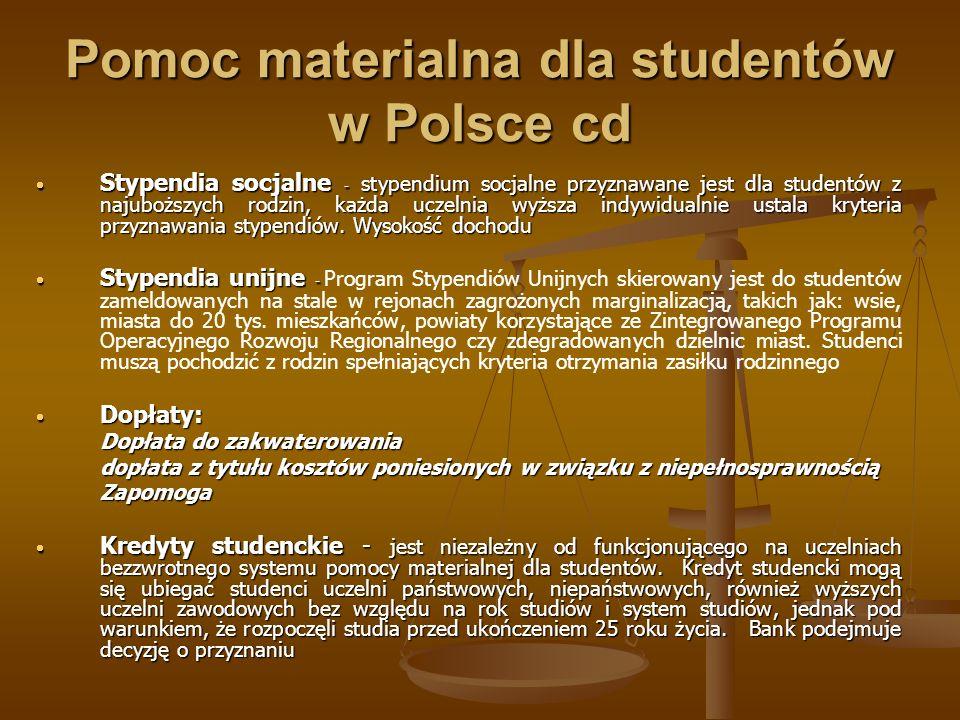 Pomoc materialna dla studentów w Polsce cd