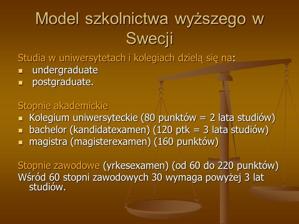 Model szkolnictwa wyższego w Swecji